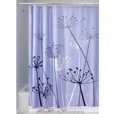 InterDesign Thistle Shower Curtain High Bathtub Made Of Polyester Purple Grey