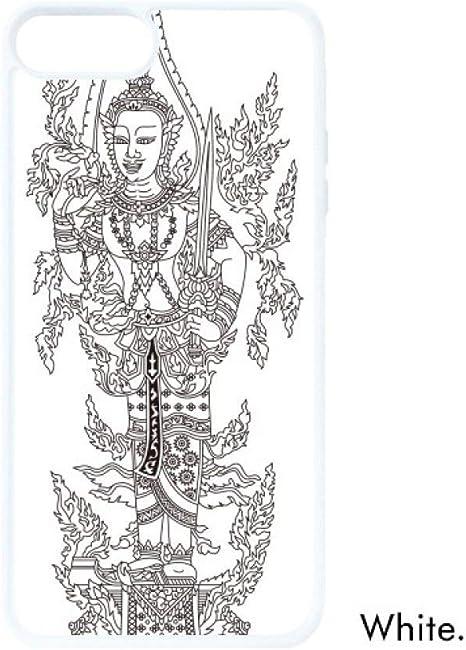 Diythinker Thailande Contour Noir Ligne Dessin Bouddha Blanc