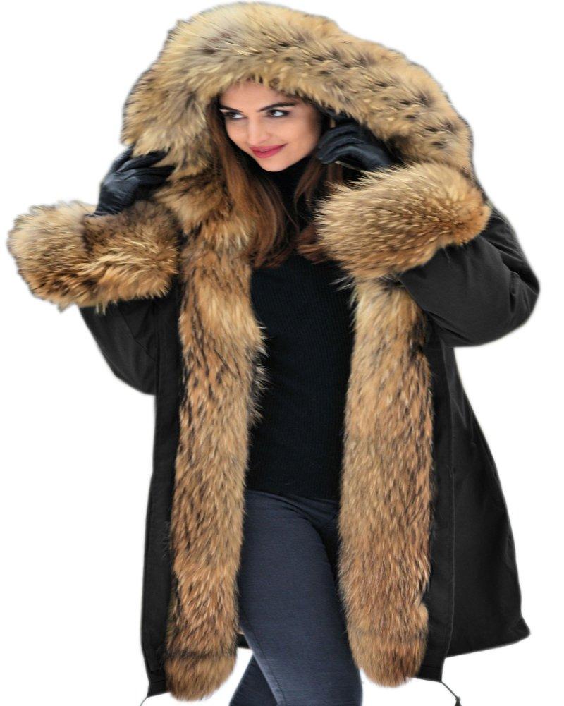 Aofur Womens Hooded Faux Fur Lined Warm Coats Parkas Anroaks Outwear Winter Long Jackets (XXX-Large, Black)