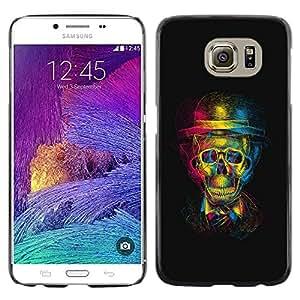 3D Gentleman Skull - Metal de aluminio y de plástico duro Caja del teléfono - Negro - Samsung Galaxy S6 / SM-G920 / SM-G920A / SM-G920T / SM-G920F / SM-G920I