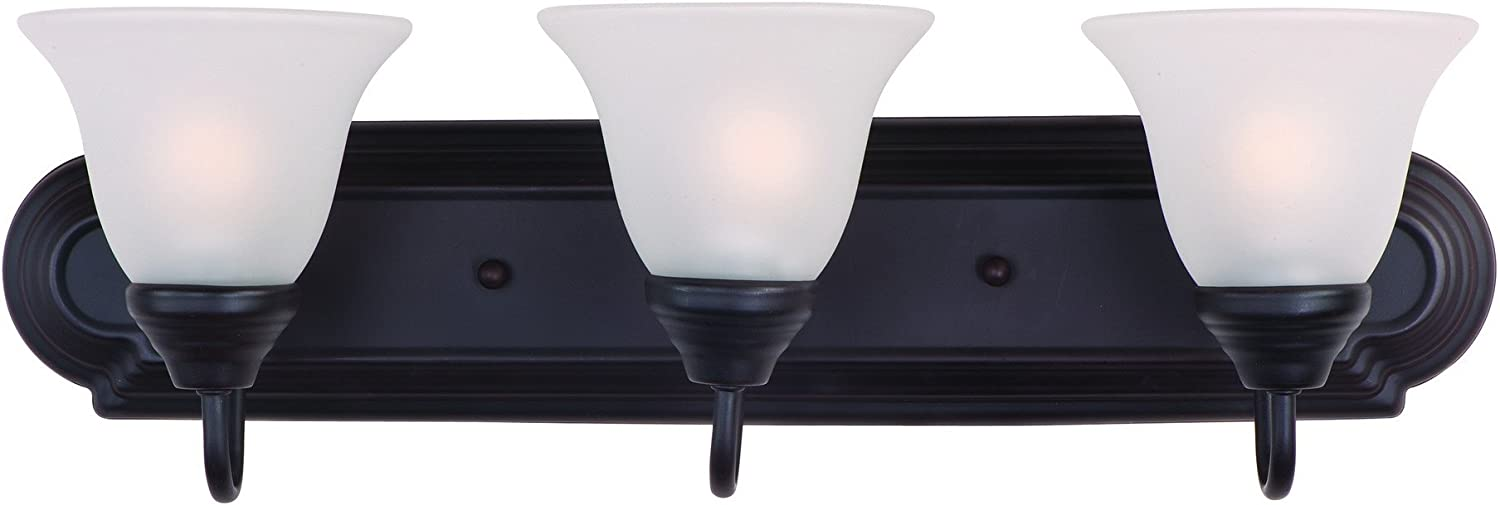 Maxim 8013FTOI Essentials 3-Light Bath Vanity, Oil Rubbed Bronze Finish, Frosted Glass, MB Incandescent Incandescent Bulb , 60W Max., Dry Safety Rating, Standard Dimmable, Metal Shade Material, Rated Lumens