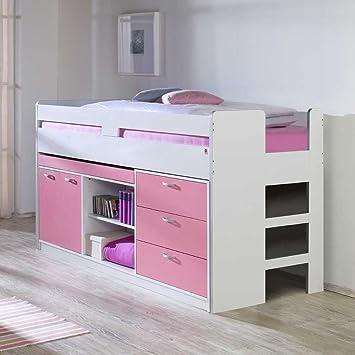 Kinderhochbett weiß  Kinderhochbett mit Stauraum Weiß Rosa Pharao24: Amazon.de: Küche ...