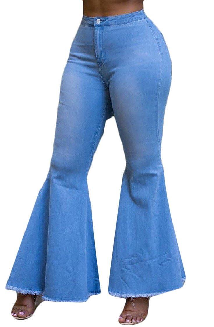 Amazon.com: fieer para mujer Flare lavar cintura alta Plus ...