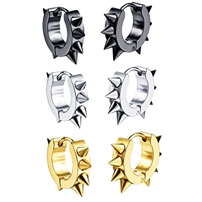 Silver Cool Stainless Steel Earrings Hip Hop Mens Awl Taper Huggie Hoop Ear Cuff
