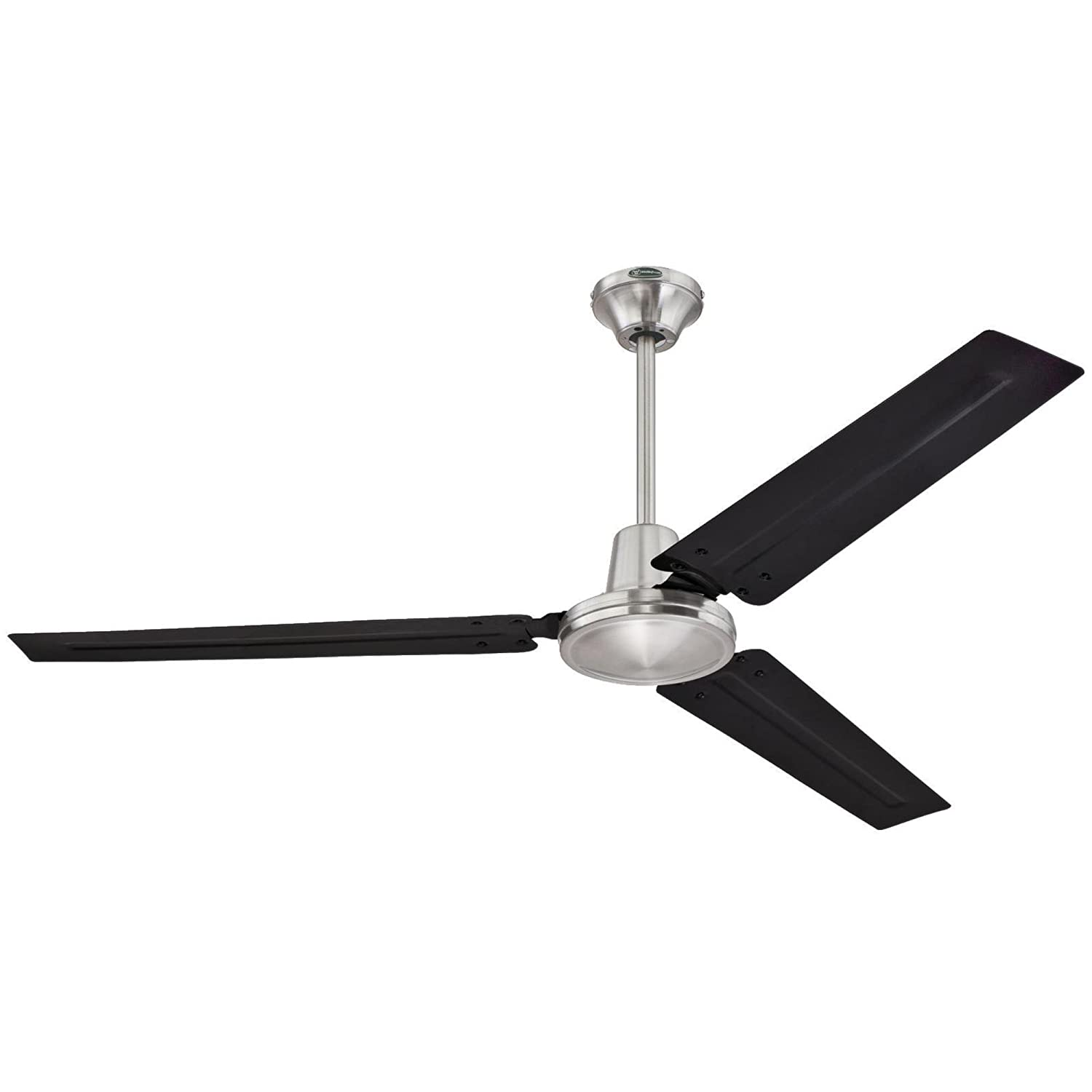 7800300 Industrial 56-Inch Three-Blade Indoor Ceiling Fan, Brushed Nickel Finish with Black Steel Blades