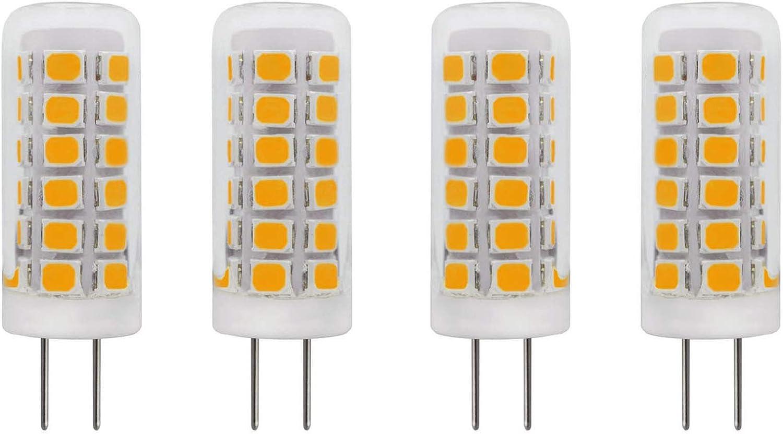 Mini G4 LED Bulb 120V Dimmable 2W (20W T3 G4 Bi-Pin Base Halogen Lamp) Glass Cover for Under Cabinet Lights, Puck Light, Ceiling Lights, Warm White 3000K 250 Lumen, Pack of 4