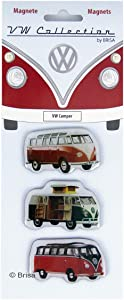 BRISA VW Collection - Volkswagen Samba Bus T1 Camper Van Magnet 3-pc Set with nostalgic Design (Camper)