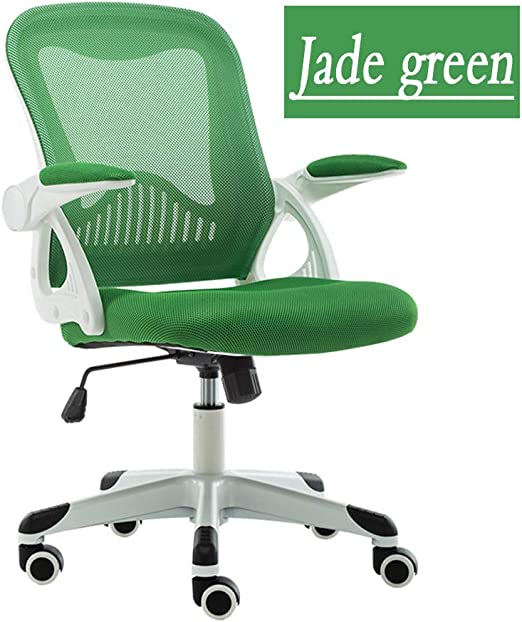 Amazon Com Rnntk Modern Executive Desk Chair Mesh Ergonomic Mid Back Office Chair Adjustable Handrails Office Lumbar Support Computer Desk Chair Breathable Mesh Chair Emerald Green Kitchen Dining