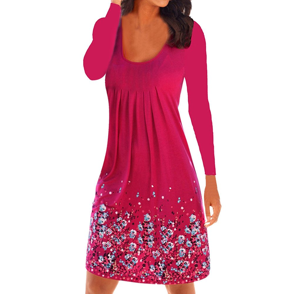 Winsummer Womens Casual Loose Plain Dresses Vintage Floral Printed T-Shirts Dress Plus Size Hot Pink