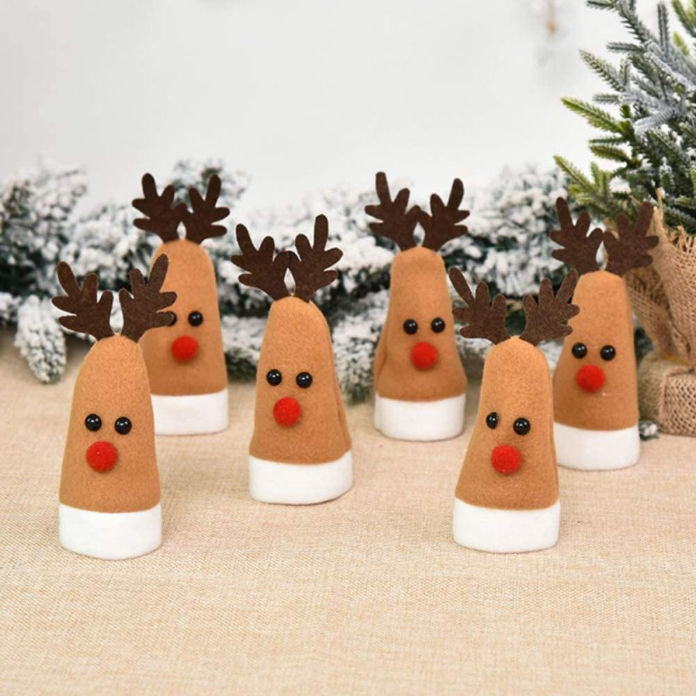Anntool 6 Pack Mini Christmas Hat Christmas Reindeer Elk Decoration Lollipop Candy Cover Wine Bottle Cover Little Doll Crafts Decor