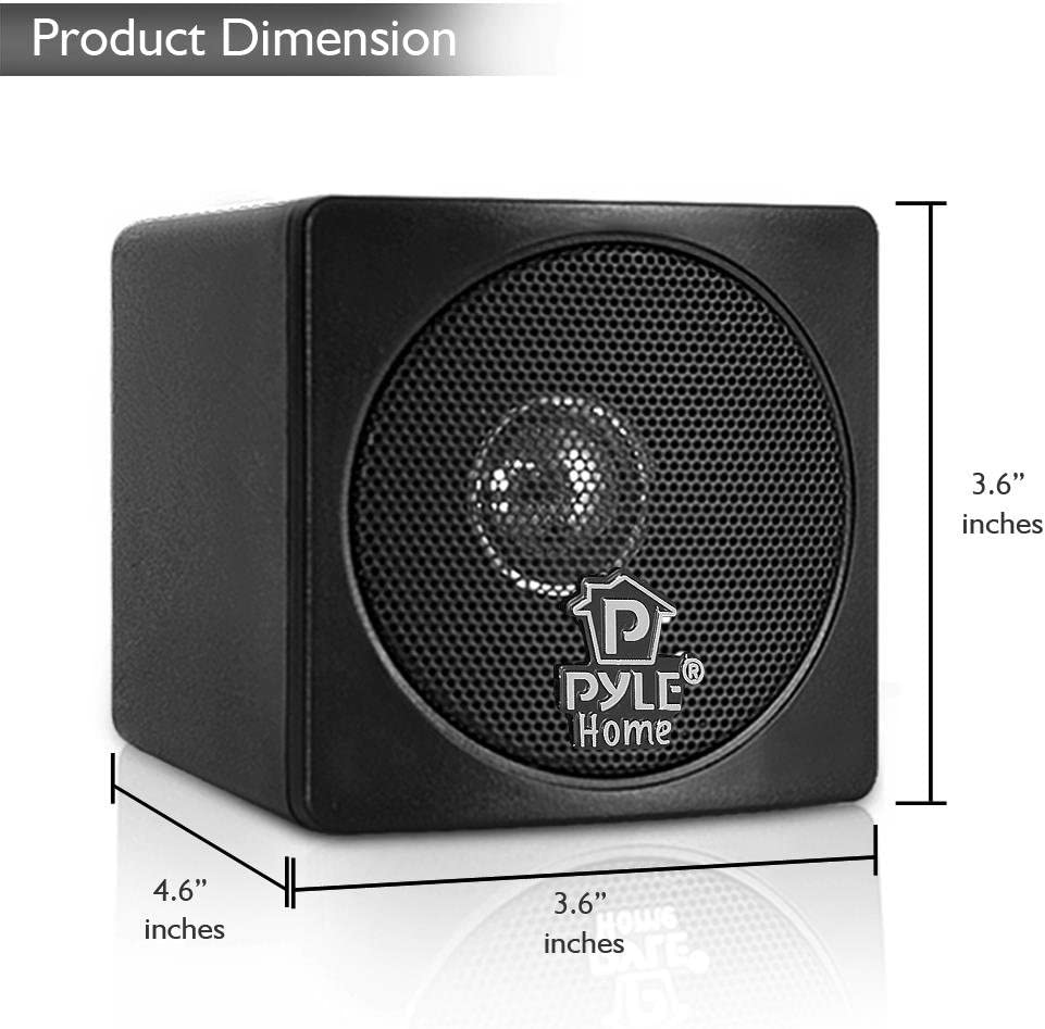 Sound Around Pyle Home 3-in 100-Watt Mini Cube Bookshelf Speakers Pair Black