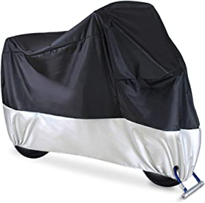 """Motorcycle Cover, Ohuhu All Season Waterproof Motorbike Covers with Lock Holes, Fits up to 108"""" Motors Bikes Scooters for Honda, Yamaha, Suzuki, Harley (XX Large), Black-Silver"""