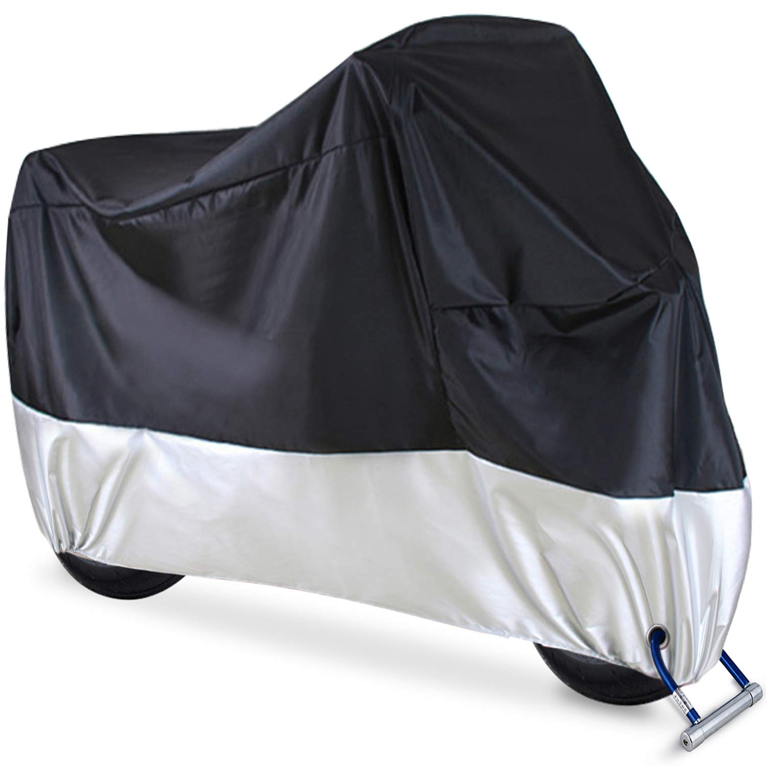 Motorcycle Cover, Ohuhu All Season Waterproof Motorbike Covers with Lock Holes, Fits up to 108'' Motors Bikes Scooters for Honda, Yamaha, Suzuki, Harley (XX Large), Black-Silver by Ohuhu