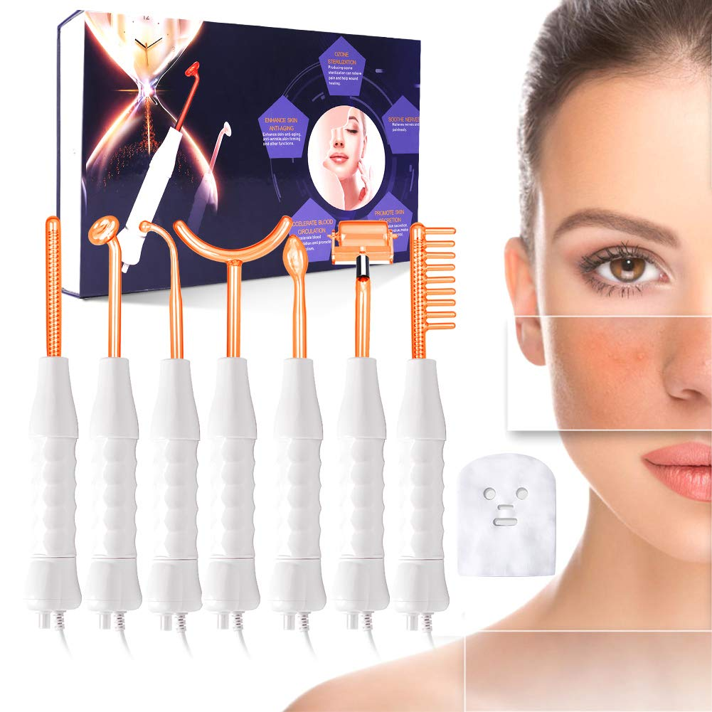 High Frequency Facial Machine, MYSWEETY Potable 7 Wands Tube with Electrode Argon Gas, for Spot Acne Remover& Facial Skin Care, Hair Loss Electrotherapy Treatment, Red Light