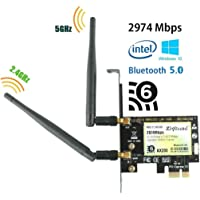 Ziyituod AX200 Wifi 6 Card, AX2974Mbps Wireless Adapter, 802.11ax PCIe Wifi Card with Bluetooth5.0, 4X4 Dual-Band(2.4GHZ 574Mbps + 5GHZ 2400Mbps) For PC, Support Windows 10 64bit,Chrome OS and Linux
