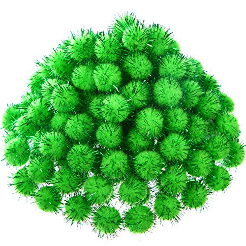 Shappy 1000 Pieces Glitter Pom Poms 0.6 Inch Fuzzy Pompoms Arts and Crafts Balls for Hobby Supplies and Craft DIY Material (Fruit Green)
