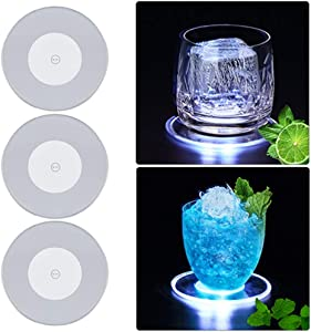 Light Up Cocktail Coaster,Acrylic Cool White Infinity Tunnel Flickering LED Drink Coaster Ultra-thin 3.90 In. Drink Coaster,Bar Beer Beverage Coasters for Club,Wedding, Bar, Party Decoration,3Packs
