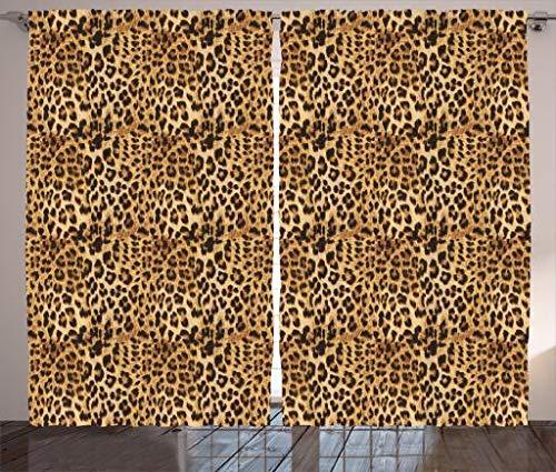 Ambesonne Brown Curtains, Leopard Print Animal Skin Digital Printed Wild Safari Themed Spotted Pattern Art, Living Room Bedroom Window Drapes 2 Panel Set, 108