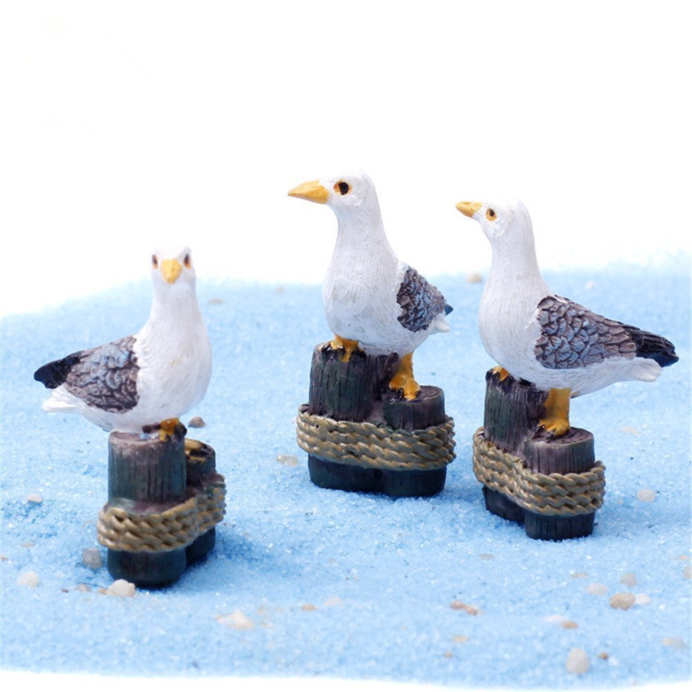 COOLTOP 3 Pcs Miniature Seagulls Fairy Garden Animal Cute Seagull Plant Pots Bonsai Craft Micro Landscape DIY Decor