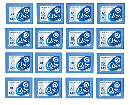 Q-tips Cotton Swabs Travel Size, 30 Count, (Pack of 16)