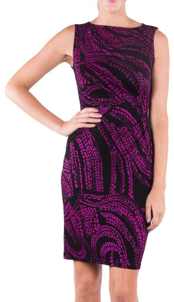 Joseph Ribkoff Black & Fuchsia Spotted Pattern Sleeveless Dress Style 163736 - Size 8