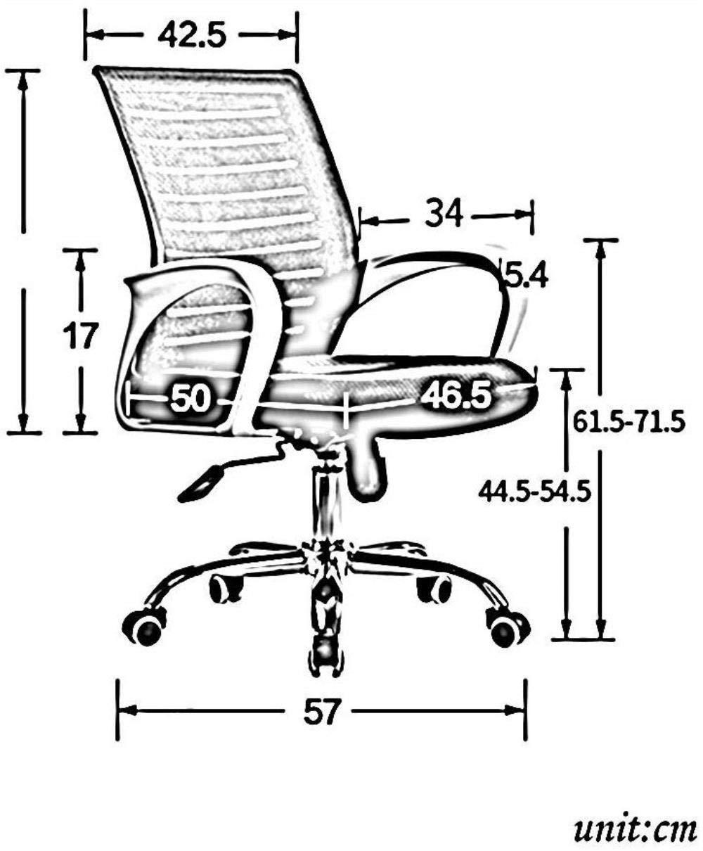 Xiuyun kontorsstol spelstol – med nätduk baksida och nylon räcke hem kontor stigande och fallande rosett stol svängbar stol (färg: B) E