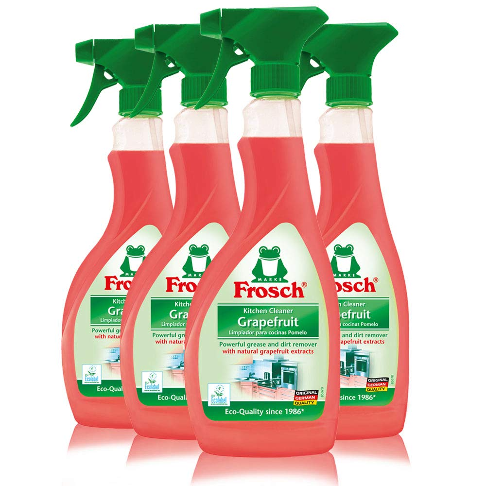 Frosch Natural Grapefruit Multi-Surface Kitchen All Purpose Cleaner Spray, 16.9 fl oz (Pack of 4)