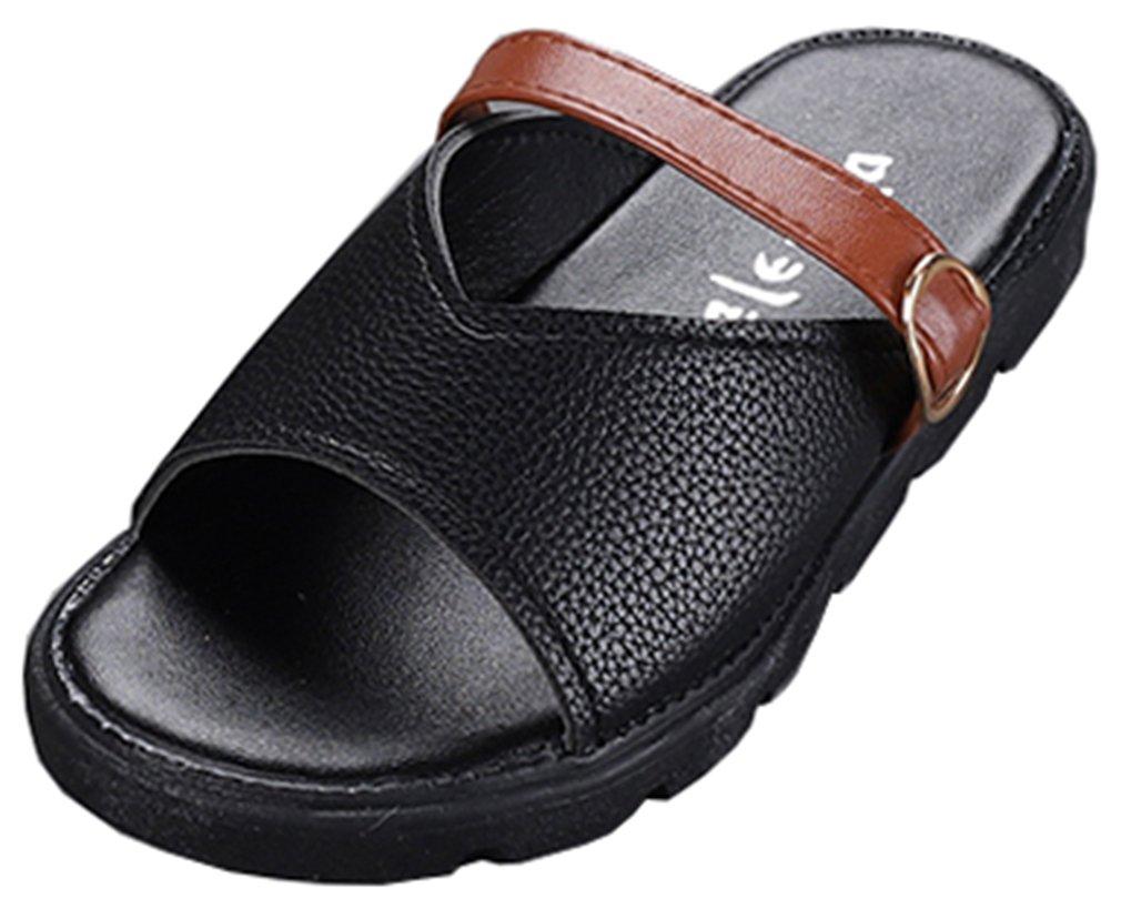 VECJUNIA Kid's PU Casual Slide On Flat Sandal Slippers Waterproof Outdoor Indoor (Black, 13 M US Little Kid)