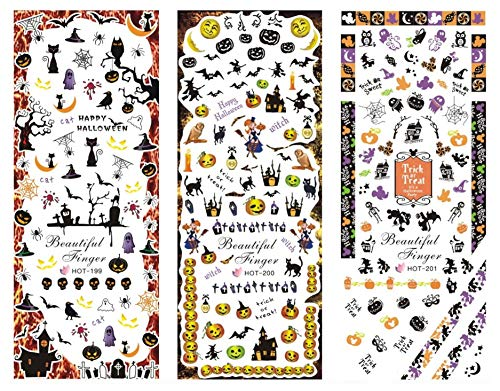 Easy Do It Yourself Halloween Nail Art (Beaute Galleria 3 Sheets Halloween Theme Assortment Nail Art Water Slide Decals Transfer Stickers Tattoos - Candle, Pumpkin, Ghost, Witch, Haunted House, Bat, Spider, Skeleton, Scary, Stele,)