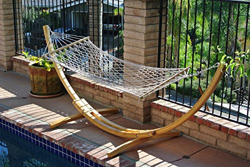 ProSource Wooden Curved Arc New Wooden Curved Arc Hammock Stand with Hammock - Oak