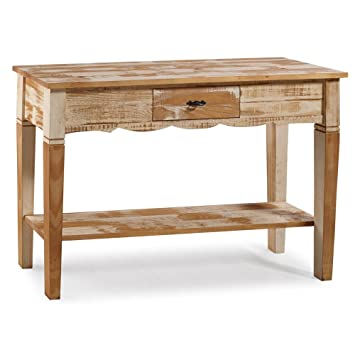 Reclaimed Console Table Solid Wood Distressed White