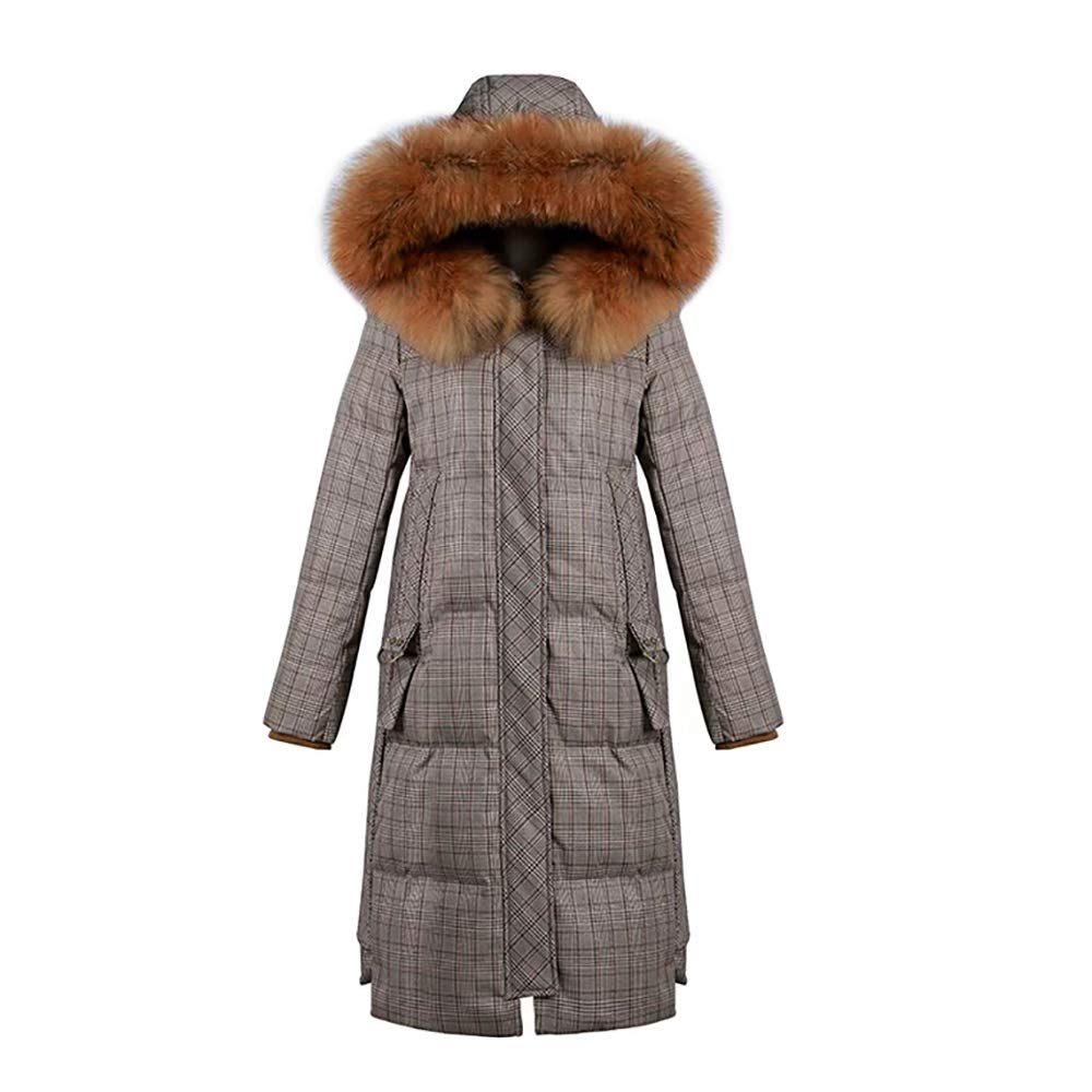 Cotton Coat Long Winter Jacket in Brown Plaid Thicken Ladies Down Jacket (Size   L)