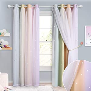 NICETOWN White Sheer Voile & Blackout Drapes Assembled, Mix & Match Star Cut Rainbow Stripes Design Curtains with Versatile Styling Options for Birthday Party (Rainbow, Each is W52 x L84, Sold by 2)