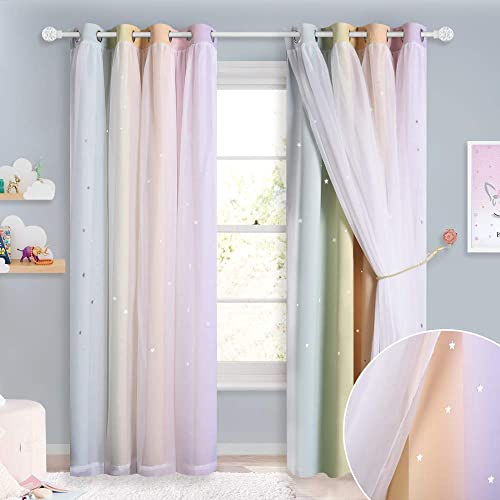 NICETOWN Star Kids Blackout Rainbow Digital Printing Overlapped White Sheer Curtain Panels