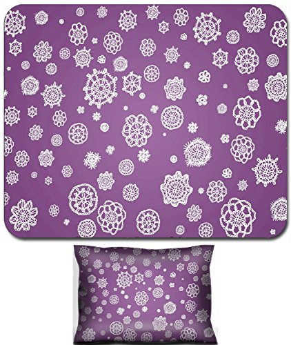 Crocheted Fabrics (Liili Mouse Wrist Rest and Small Mousepad Set, 2pc Wrist Support IMAGE ID: 12427151 White fabric crocheted flowers isolated over lilac violet background)