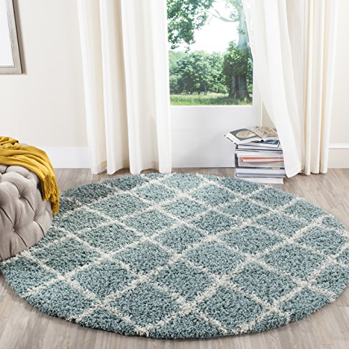 Safavieh Dallas Shag Collection SGD258C Seafoam and Ivory Round Area Rug (6' Diameter)