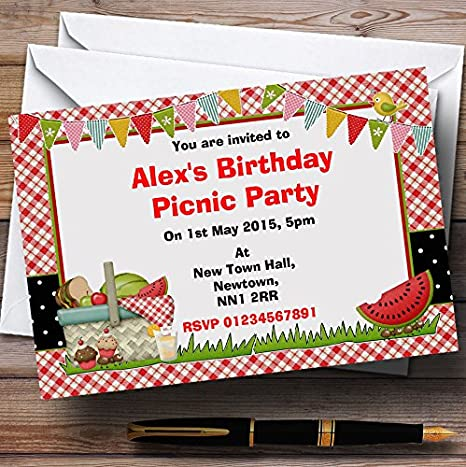 amazon com red picnic personalized birthday party invitations