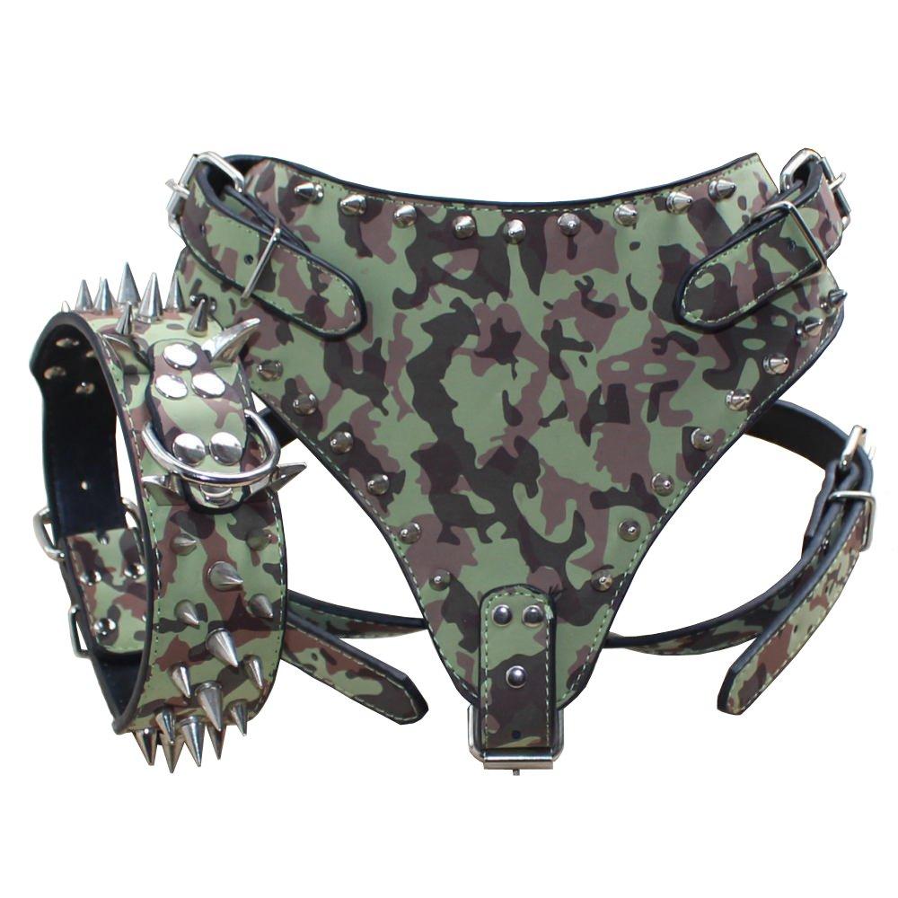 Benala Spiked Studded Leather Dog Harness & Sharp Collar Set for Mastiff Doberman Medium Large Breeds Available (Camouflage,Xl) by Benala