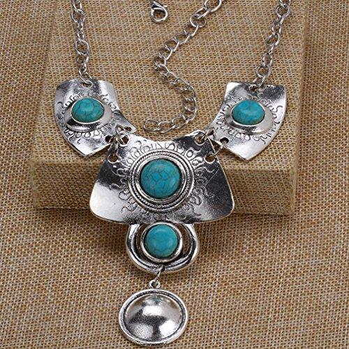 YAZILIND Vintage Argent tibétain Round Turquoise Inlay Pendentif Collier Boucles d'oreilles Ensemble de bijoux pour les femmes