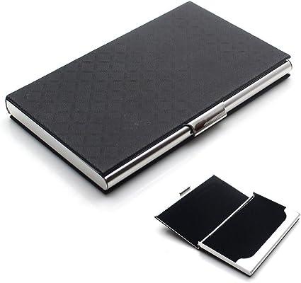 Rerii Edelstahl Visitenkartenhalter Visitenkartenetui Oberfläche Mit Leder Prägung Embossed Schwarz