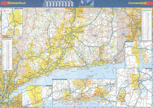 Map Connecticut - 36x48 Connecticut State Official Executive Laminated Wall Map