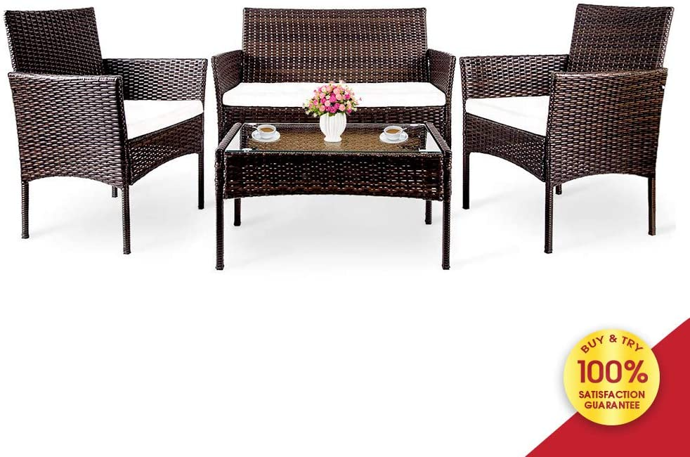 Hooseng 4 PC Outdoor Garden Rattan Patio Furniture Set Cushioned Seat Wicker Sofa