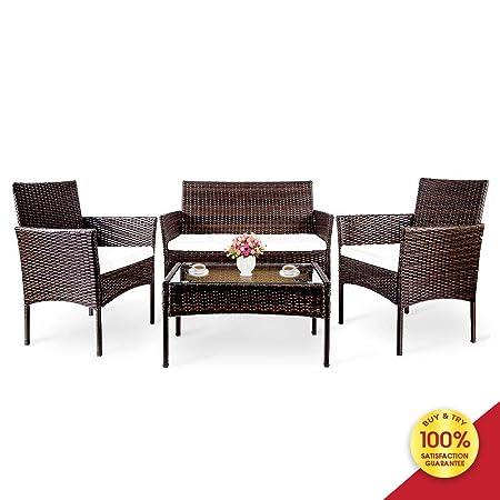 Hooseng Hoosng 4 Pieces Furniture Rattan Chair Table Patio Set Outdoor Sofa for Garden, Backyard, Porch and Poolside, Brown9