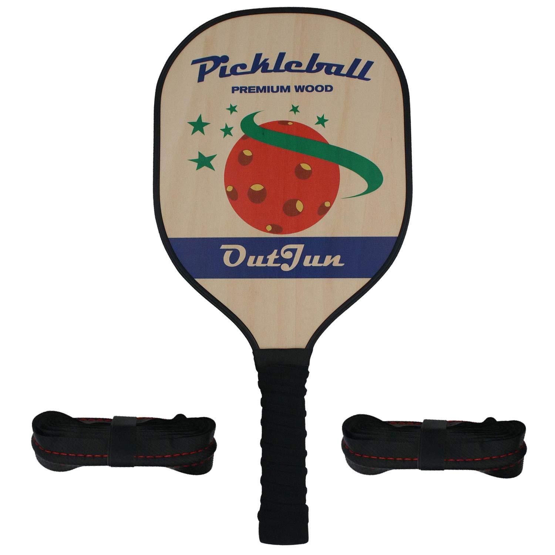 OUTJUN 木製ピックルボールパドル - 丈夫なエッジガード付き木製ピックルボールパドル オーバーグリップ交換部品付き B07HGTLC38