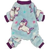 Fitwarm Unicorn Pet Clothes for Dog Pajamas Coat Cat PJS Jumpsuit Soft Velvet Purple Small