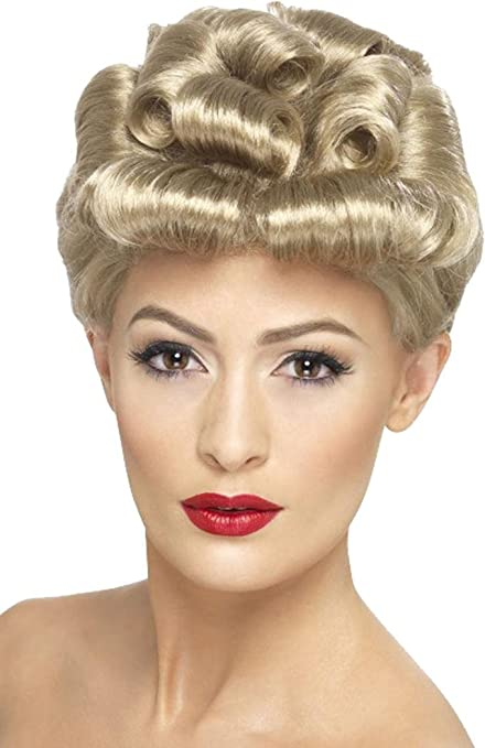1940s Dresses and Clothing UK | 40s Shoes UK Adults 1940s Wartime Fancy Dress Party Vintage Wig Curly Style Headpiece Blonde £15.97 AT vintagedancer.com