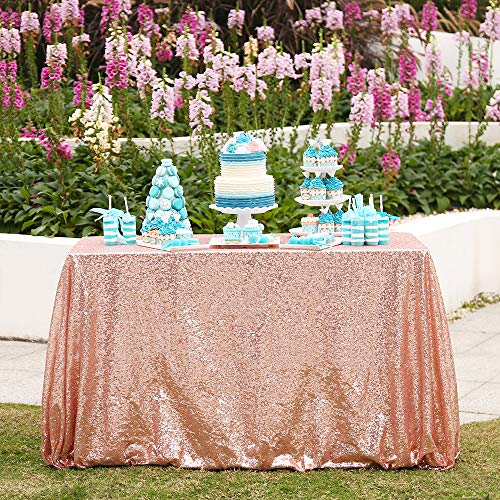 "60""x120"" Sparkly Rose Gold Square Sequins Wedding Tablecloth, Sparkly 6FT-8FT Overlays Table Cloth for Wedding, Event"