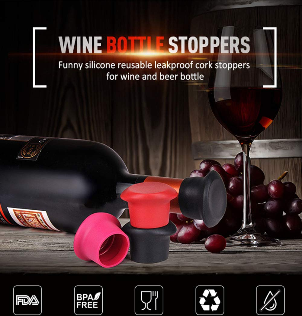 6 Wine Stoppers,Kitchenware Bottle Caps,Set of 6 Silicone Wine Reusable Caps Stoppers for Wine and Beer Bottles(Black2,Grape Purple 2,Red2)-P&M Home