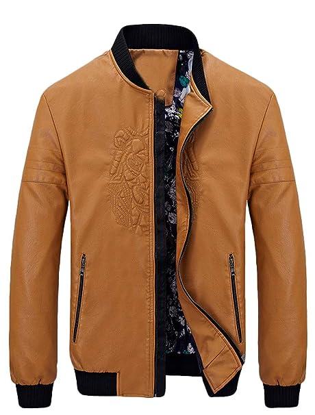 Mallimoda Uomo Cappotti PU Pelle Giacca Casual Zip Classico Cappotto Jacket  Giacche  Amazon.it  Abbigliamento db5577c279a