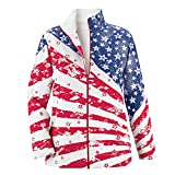 Collections Women's Unique July 4th Patriotic Clothing Stars and Stripes Zip Up Jacket, Red/White/Blue, Large